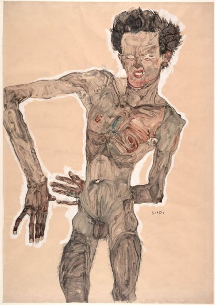 Schiele, Egon: Nude Self-Portrait, Grimacing. Fine Art Print/Poster. Sizes: A4/A3/A2/A1 (003697)